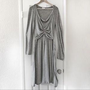 MaxMara Gray Virgin Wool Long Sleeve Maxi Dress